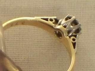 ART DECO 18CT GOLD PLATINUM SOLITAIRE DIAMOND RING