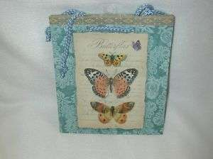 PUNCH STUDIO BUTTERFLIES PAPER GIFT BAG/ROPE HANDLES NE