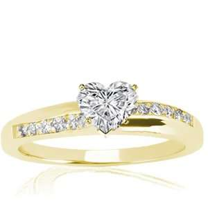 Ct Heart Shaped Diamond Engagement Ring Pave Set 14K YELLOW GOLD GIA