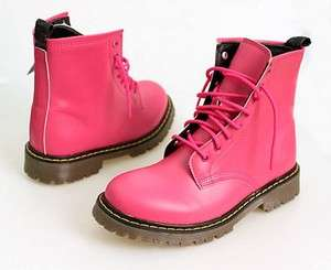 NEW Womens Hi High Top Military Combat Boots Pink Fashion Shoes NWT sz