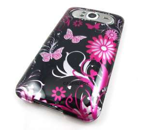 PINK BUTTERFLIES HARD CASE PHONE COVER FOR HTC HD7 HD7S