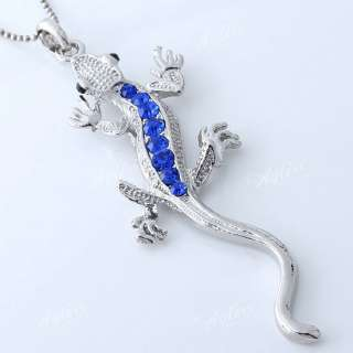 1PC Silver Plate Blue Crystal Lizard Bead Focal Pendant Jewelry