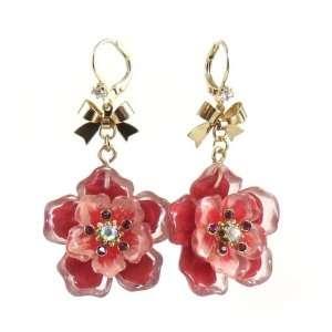 Betsey Johnson Jewelry Hawaiian Luau Orange Flower Earrings Jewelry