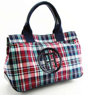 TOMMY HILFIGER HANDBAG STORY TOTE BAG PURSE DARK PLAID