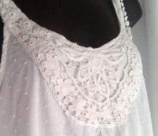 b571 Rose Garden Crisp Cotton Sun Dress Sz L White Dots Crochet Detail