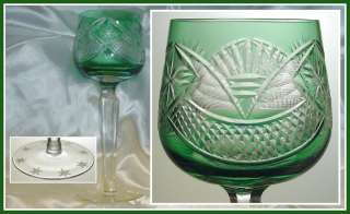 EMERALD GREEN Wine Goblet Hock Glass CUT TO CLEAR LEAD CRYSTAL Poland