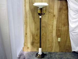 Art Deco Floor Lamp Brass & Alabaster w Large Milk Glass Shade 1930s