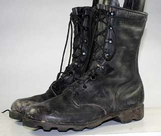MILITARY/ARMY/JUMP/COMBAT BLACK LEATHER VINTAGE MENS BOOTS sz 8 W