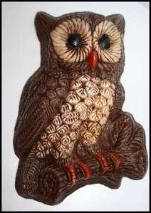 Vtg Owl Wall Hanging Art Bird Hoot Retro Decor Resin Eyes Mid Century