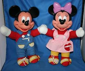 Vtg Disney Mickey and Minnie Mouse Learn to Dress Dolls