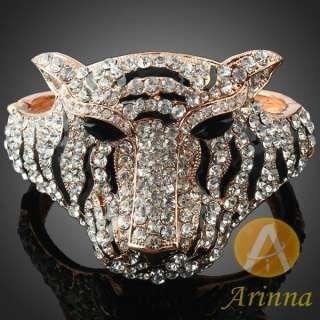 ARINNA tiger head king black stripe bracelet bangle GP clear Swarovski
