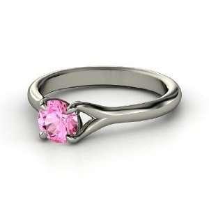 Cynthia Ring, Round Pink Sapphire 14K White Gold Ring