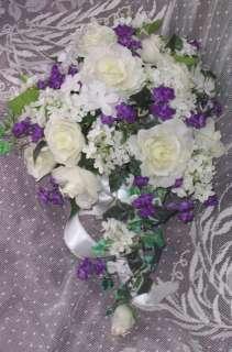 Wedding Bridal Bouquet Ivory Rose, Hyacinth, Lilac Cascade