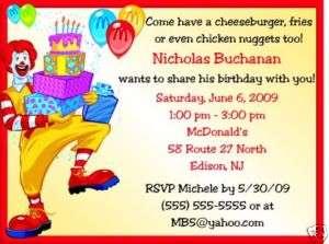 Mcdonalds Birthday Invitations Birthday Party Supplies