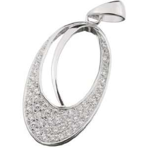 Cubic Zirconia {C.Z.} .925 Sterling Silver Oval Micro Setting Pendant