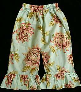 Matilda Jane Clothing MJC PLATINUM Aqua Dandy Blue Flower Ruffle Pants