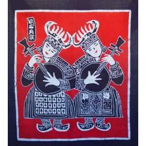 Beautiful Chinese Art Miao Batik Tapestry Girl Everything