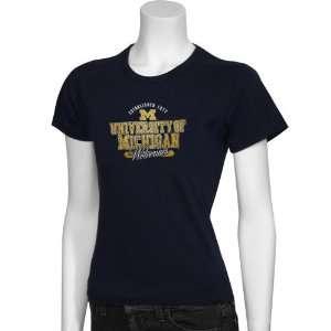 Michigan Wolverines Navy Ladies Premiere Passport T shirt