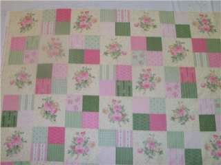 Ro Gregg Shabby Pink Green Cream Floral Rose Cheater Patch Quilt Block