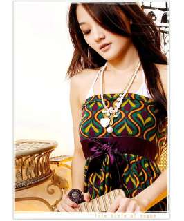 Vtg INDIE Print BubbleSatin Belt Tube Party Dress