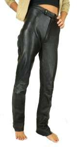 VINTAGE Medium Rise Black LEATHER Rocker DIVA Motorcycle PANTS Size XS