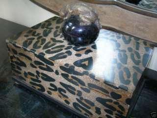 Maitland Smith Leopard Design Black Penshell Box