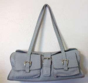Carla Mancini powder blue leather purse satchel handbag |