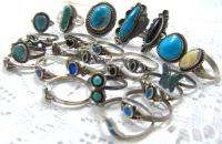 NATIVE AMERICAN TURQUOISE STERLING SILVER RINGS SCRAP NOT 63.5g