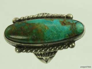 VINTAGE HAND MADE AMERICAN ISLETA INDIAN STERLING SILVER & TURQUOISE