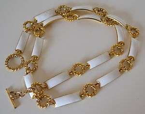 Vintage White Enamel & Gold Tone Chain Belt Necklace Made In ITALY