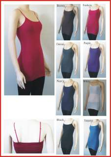 One Plain LONG Spaghetti Strap Tank Top Basic Layering Camisole S~L