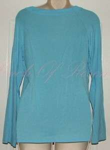 Intimates Sleep Lounge Scoop Neck Long Sleeve T Shirt Tee Shirt Blue