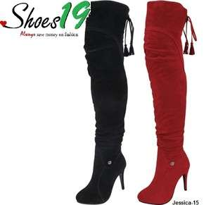 Sexy Platform Smooth Velvet Warm Over Knee Thigh High Heels Jessica 15
