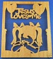 Jesus Loves MeLittle Girl Praying Hand Cut Wood Plaque