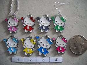 Your Choice Color Hello Kitty Necklace OR Earrings