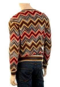 NEW MISSONI MENS LUXURY WOOL SIGNATURE ZIG ZAG PATTERN V NECK SWEATER
