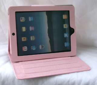 Hello Kitty leather case stand for apple iPad2 Pink