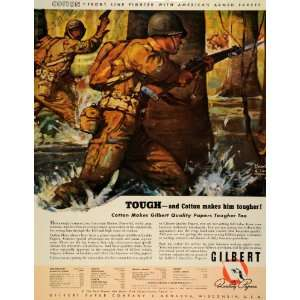 1942 Ad Cotton Paper Gilbert World War II Troops Military Front Line
