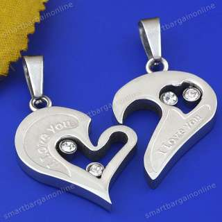 Couple Stainless Steel Jigsaw Heart Pendant Necklace 20 For Lover