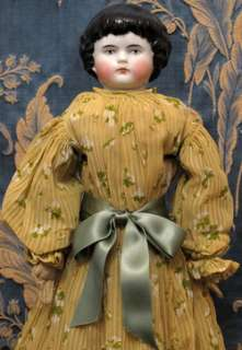 18 ABSOLUTELY STUNNING C. 1870 Black Haired Highland Mary China Doll