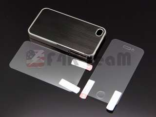 Aluminum Chrome Hard Case Back Cover For iPhone 4 4S Black