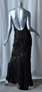 LES HABITUDES Black *SILK* Beaded Exotic Floral Pattern Formal Gown