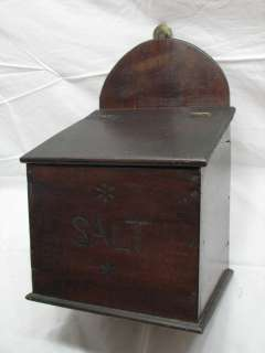 ANTIQUE WOODEN WARE WALL SALT BOX PRIMITIVE KITCHEN