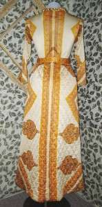 70s JANE KINLEY Quilted Funky RETRO MAXI Hippie Boho Dress, Size 12