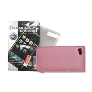 Leather Case Cover Skin Pink + Screen Protector Iphone 4g