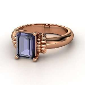 Beluga Ring, Emerald Cut Iolite 14K Rose Gold Ring