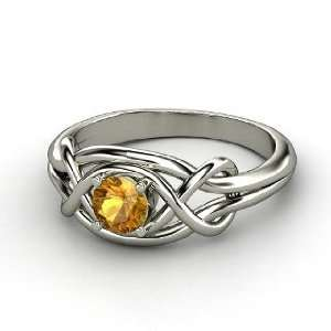 Infinity Knot Ring, Round Citrine 14K White Gold Ring