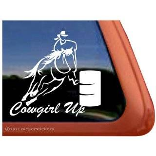 COWGIRL UP Barrel Racing Horse Trailer Vinyl Window Decal Sticker