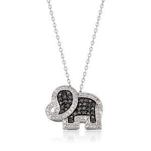 .45ct t.w. Black, White Diamond Elephant Pendant Necklace