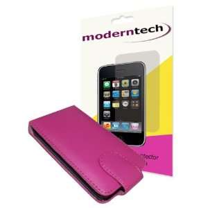 Tech Pink Leather Flip Case and Screen Protector for Apple iPod Touch